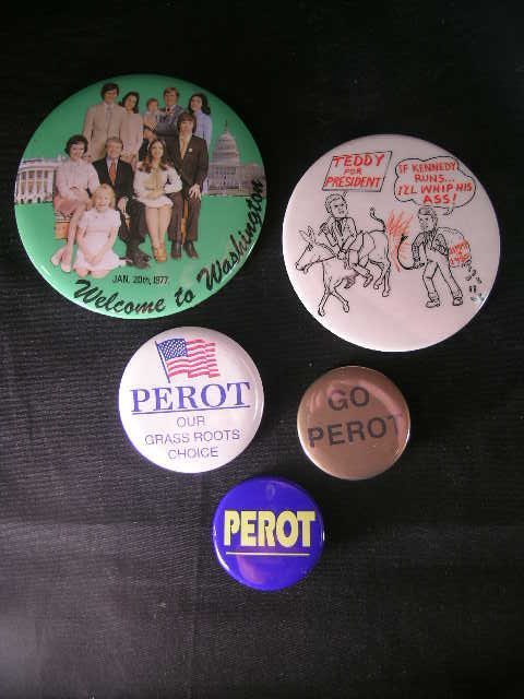13: VINTAGE POLITICAL BUTTONS PEROT CARTER 5 PCS
