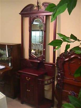 MAHOGANY CARVED HALL STAND TABLE MIRRORED