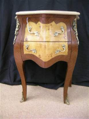 MARBLE TOP BOW FRONT ORMOLU 2 DRAWER CHEST