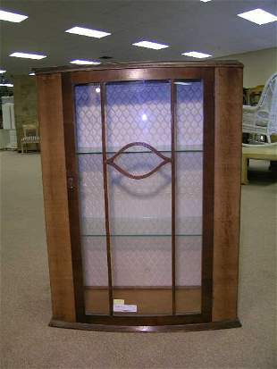 VINTAGE WOODEN GLASS FRONT CURIO CABINET