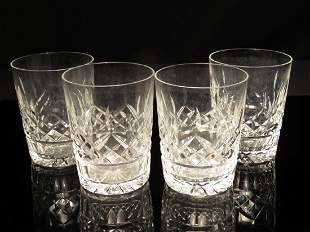 FOUR WATERFORD LISMORE DOUBLE OLD FASHIONED GLASSE