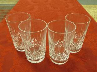 "FOUR WATERFORD LISMORE 5"" CRYSTAL TUMBLERS"