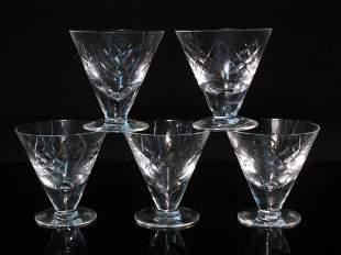 FIVE VINTAGE WATERFORD CRYSTAL GLASSES