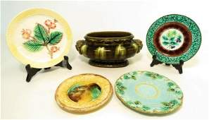 ANTIQUE MAJOLICA POTTERY: ENGLISH, SARRGEUMINES, 5