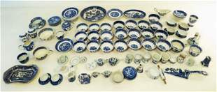 LOT BLUE & WHITE WILLOW WARE POTTERY PORCELAIN