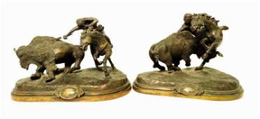 TWO VINTAGE EAGLE ART WORKS BRONZE SCULPTURES