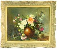 VINTAGE OIL ON CANVAS STILL LIFE FLORAL PAINTING