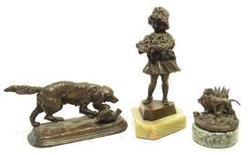 THREE ANTIQUE MINIATURE BRONZE SCULPTURES