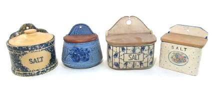 FOUR VINTAGE/ANTIQUE BLUE & WHITE POTTERY SALT BOX
