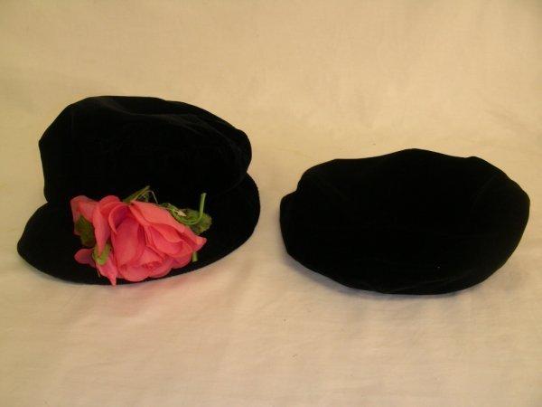 11: GIORGIO ARMANI MILANO ITALY HAT & VELVET w ROSE HAT