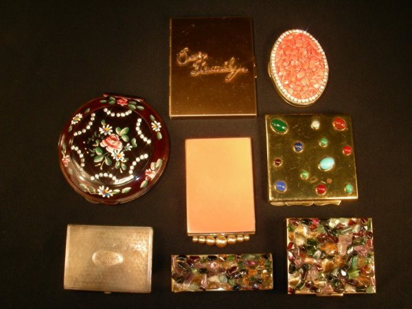17: ASSORTED VINTAGE COMPACTS STERLING BRASS PAINTED ET