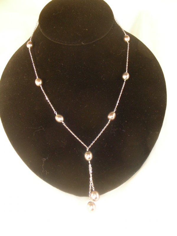 """18: 16"""" CULTURED BLACK PEARLS STERLING SILVER NECKLACE"""