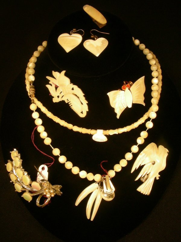 24: GROUP ASST MOTHER OF PEARL NECKLACE EARRINGS ETC 8