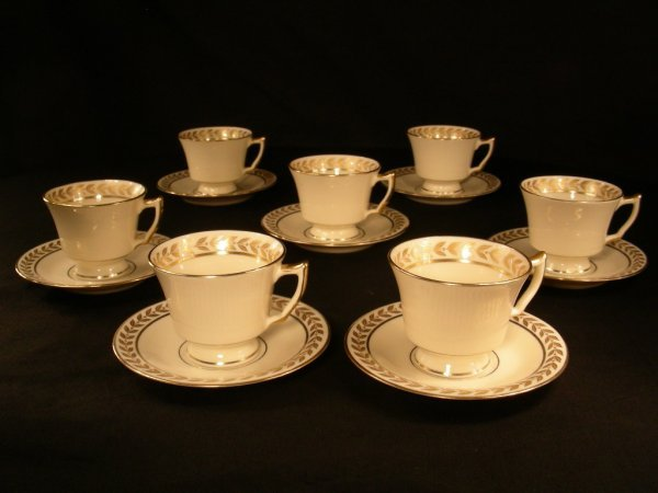304: TATLER GILT PORCELAIN DEMITASSE CUPS SAUCERS 8 set