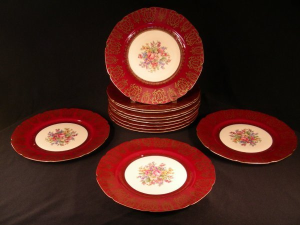305: ANTIQUE CZECH PORCELAIN GILT FLORAL PLATES TWELVE