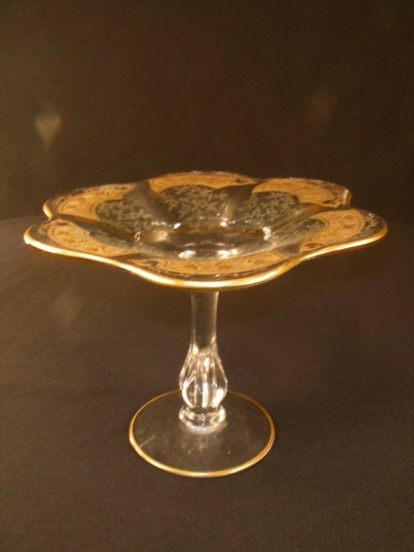 306: ANTIQUE CRYSTAL ETCHED GOLD RUFFLE COMPOTE DISH