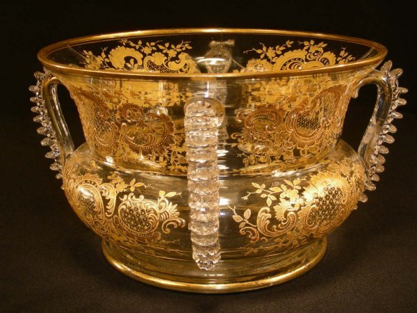 308: ANTIQUE CRYSTAL GILT ENAMEL CENTERPIECE BOWL AS-IS