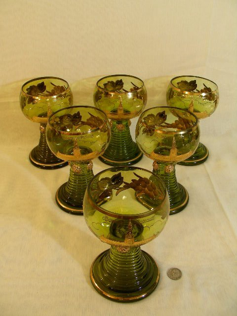 314: GREEN GLASS GILT ENAMEL BOHEMIAN WINE STEMS 6 PCS