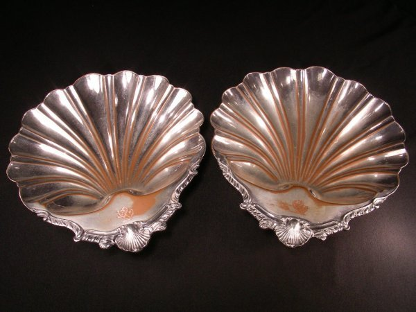 321: TWO ENGLISH SILVER PLATED OVER COPPER SHELL SERVER