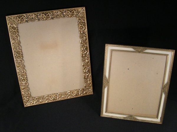 323: TWO FANCY GILT BRONZE FLORAL FILIGREE PHOTO FRAMES