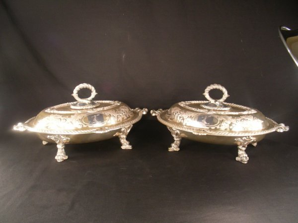 324: TWO ANTIQUE DOLPHIN FOOT CASSEROLES SILVER PLATED