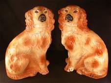 352 PR VINTAGE STAFFORDSHIRE SPANIEL DOGS LARGE