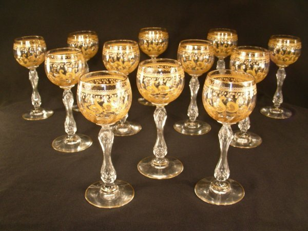 474: VINTAGE BACCARAT ETCHED GILT CRYSTAL WINE STEMS 12