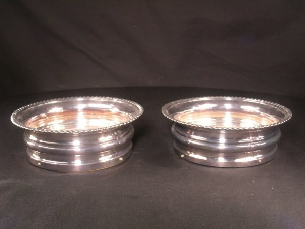 601: ANTIQUE SILVER PLATE WOOD & WINE COASTERS 2 PCS
