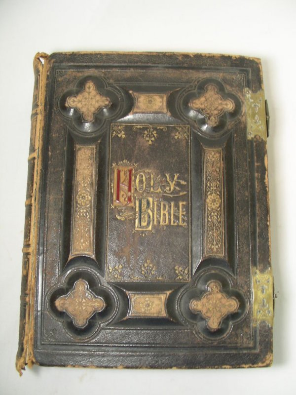608: ANTIQUE LEATHER BIBLE STEEL ENGRAVINGS