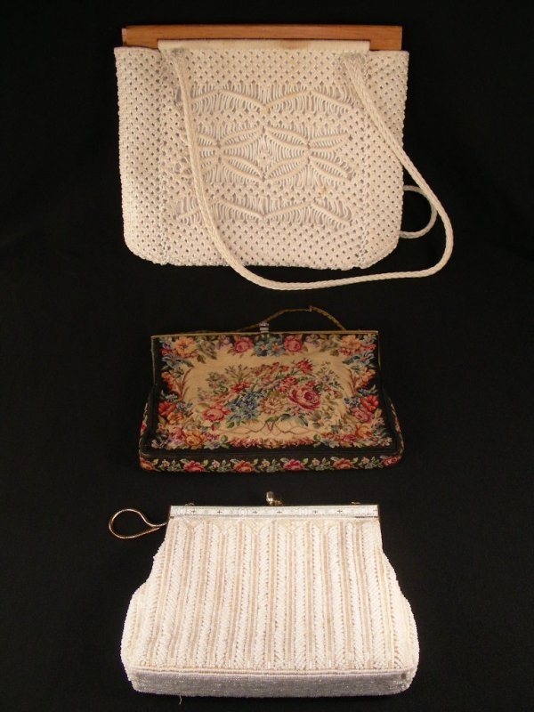 613: THREE VINTAGE HAND BAGS PURSES TAPESTRY BEADED ETC