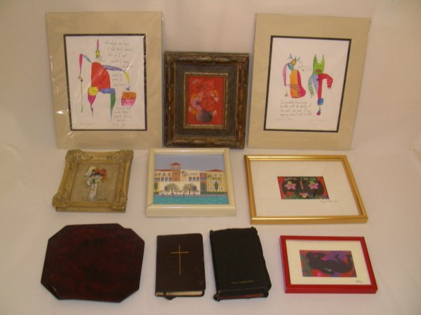 624: GROUP PRINTS PAINTINGS BIBLES TRIVETS ETC