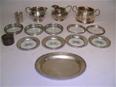 627: GROUP ASST STERLING SILVER CREAMERS COASTER ETC 14