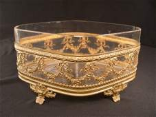 668 FRENCH CRYSTAL GILT BRONZE CENTER BOWL