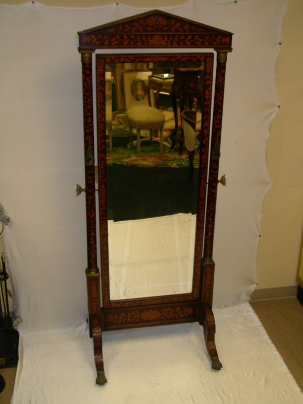 698: EXCEPTIONAL MARQUETRY CHEVAL STANDING MIRROR