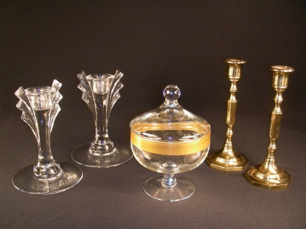 3: BRASS & GLASS CANDLESTICKS COVERED GOLD RIM DISH