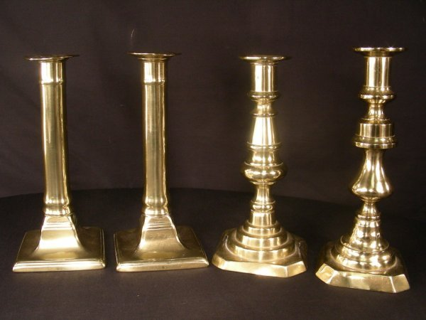 24: 2 PAIR ANTIQUE 19TH CENTURY BRASS CANDLE STICKS