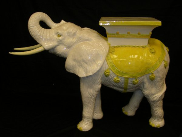 120: LG FAIENCE CERAMIC ELEPHANT GARDEN SEAT TABLE