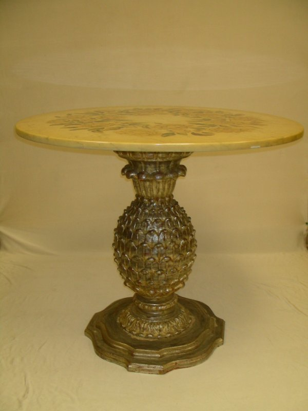 123: FLORAL MARBLE SILVER GILT PINEAPPLE BASE TABLE