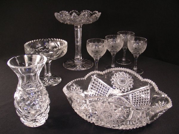 401: GP CUT GLASS TAZZA DISHES GLASSES WATERFORD VASE