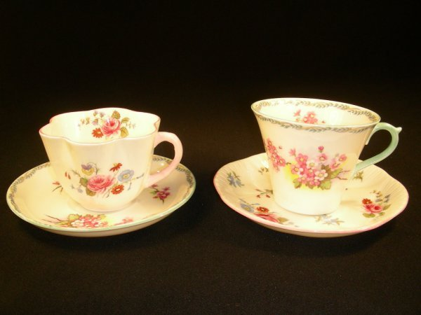 402: TWO SHELLEY FINE BONE CHINA FLORAL CUPS & SAUCERS