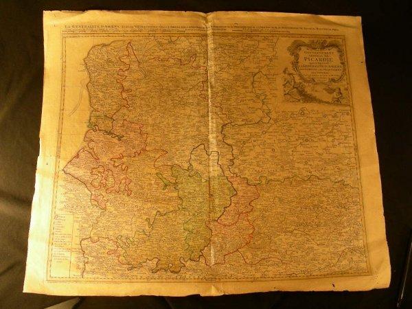 416: ANTIQUE MAP PICARDIE ARTOIS HAYNAUT THIERRASCHE
