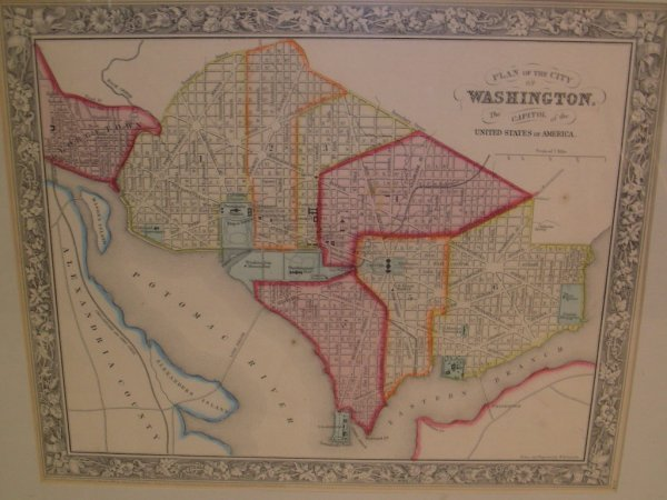 420: HAND COLORED MAP CITY WASHINGTON BY MITCHELL 1860