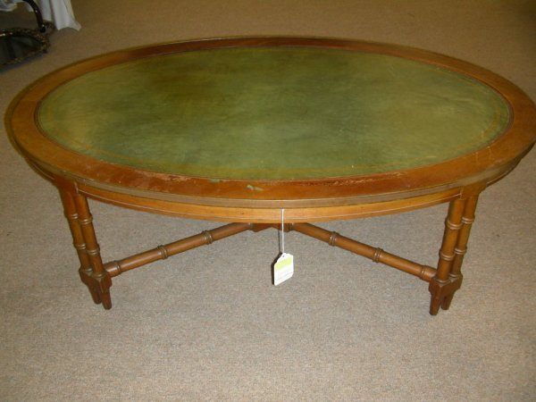451 Vintage Leather Top Coffee Table Bamboo Style
