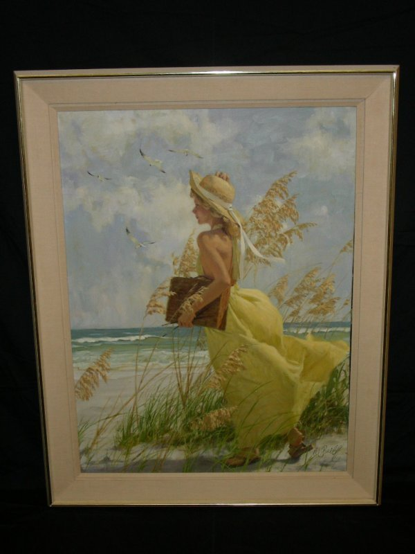 599: LARGE AL BUELL ORIGINAL OIL PAINTING PINUP GIRL