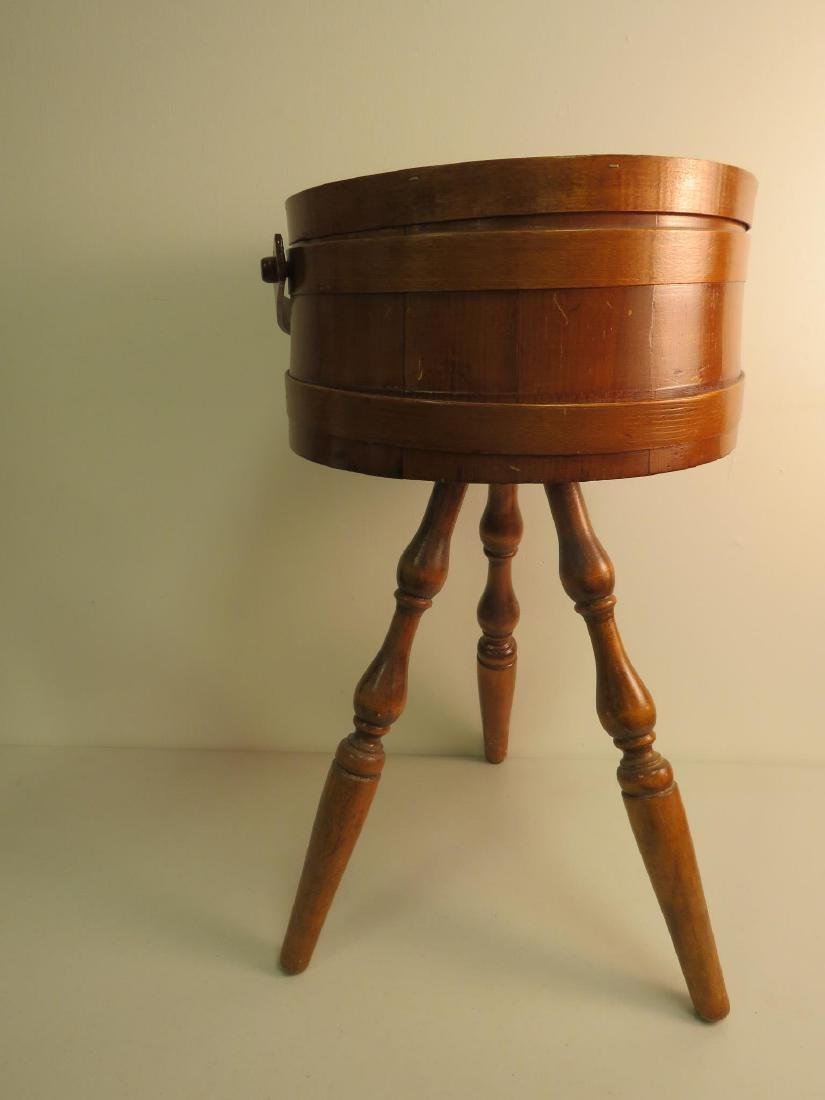 WOOD BUCKET FIRKIN STYLE SEWING KNITTING STAND