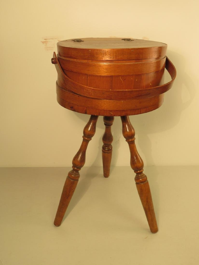 WOOD BUCKET FIRKIN STYLE SEWING KNITTING STAND - 6