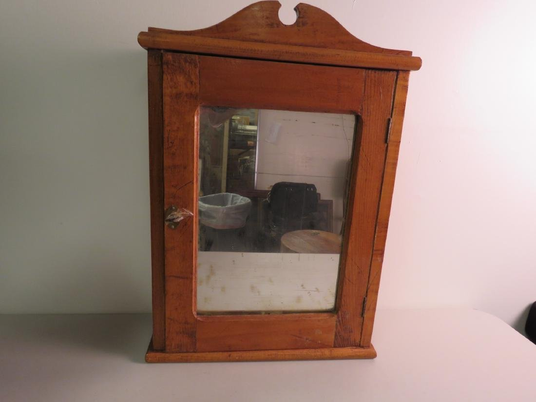 PRIMITIVE MIRRORED HANGING MAPLE WOOD CABINET
