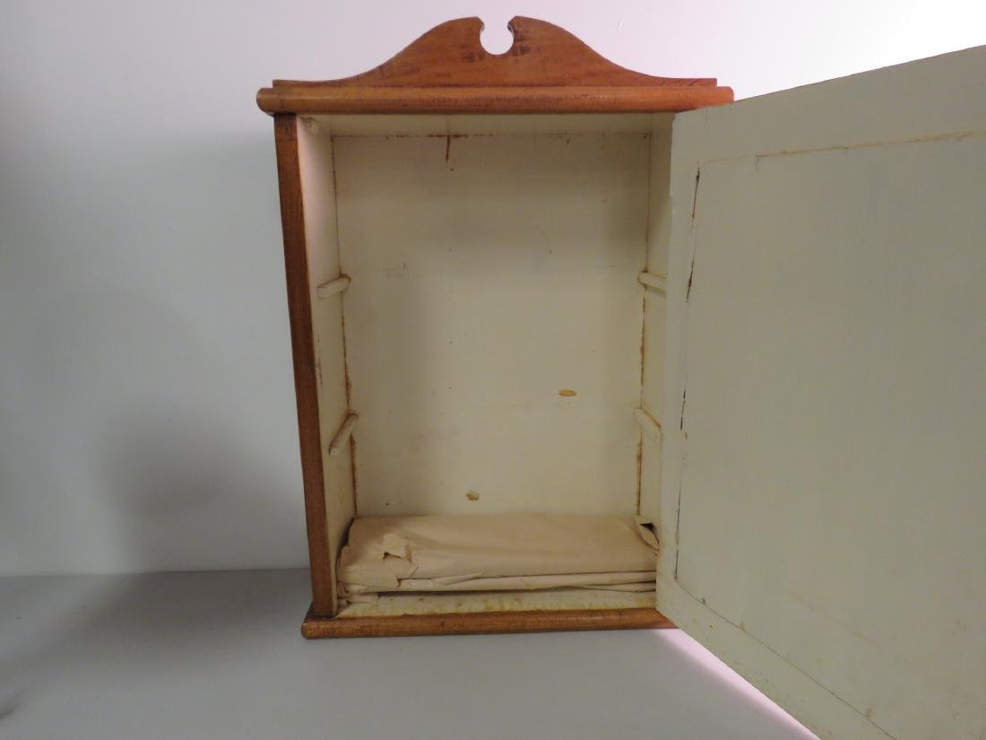 PRIMITIVE MIRRORED HANGING MAPLE WOOD CABINET - 3