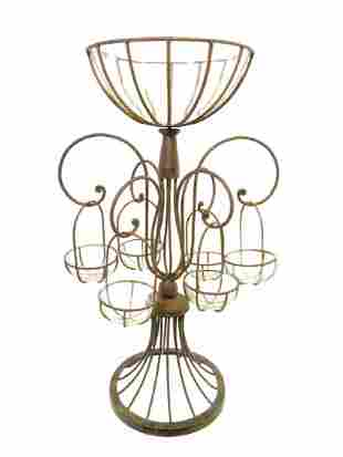 CAST IRON EPERGNE WITH GLASS INSERTS