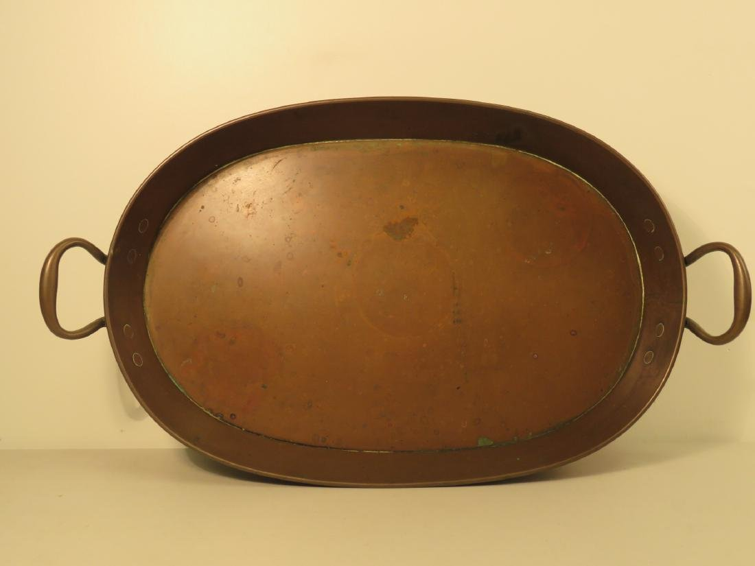 HANDLED COPPER ROASTING PAN